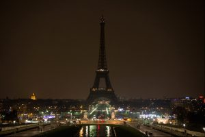 Comnination of four photos shows The Eiffel Tower submerging into darkness at 8:30 pm (local time) as part of the Earth Hour switch-off on March 23, 2013 in Paris. Organisers expect hundreds of millions of people across more than 150 countries to turn off their lights for 60 minutes on Saturday night -- at 8:30 pm local time -- in a symbolic show of support for the planet. While more than 150 countries joined in last year's event, the movement has spread even further afield this year, with Palestine, Tunisia, Suriname and Rwanda among a host of newcomers pledging to take part. AFP PHOTO BERTRAND LANGLOIS